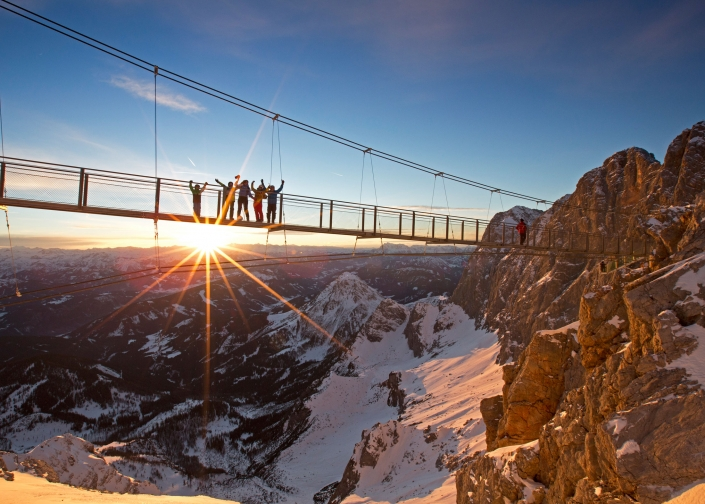Breathtaking views on the suspension bridge, Ramsau am Dachstein